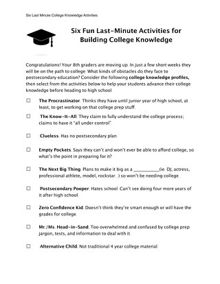 Six Last Minute Activities for College Knowledge