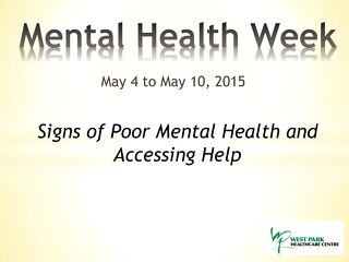Mental Health Week - symptoms and help