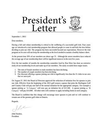 Presidents Letter ~ September 1st