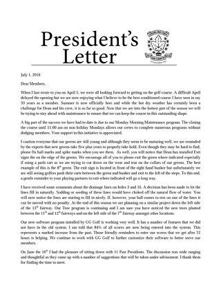 President's Letter ~ July 1st