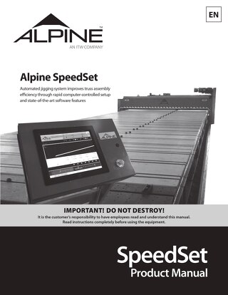 SpeedSet Product Manual