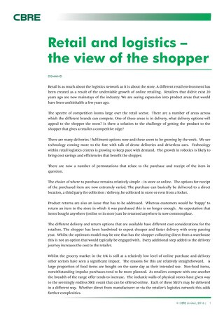 Retail  logistics the view of the shopper