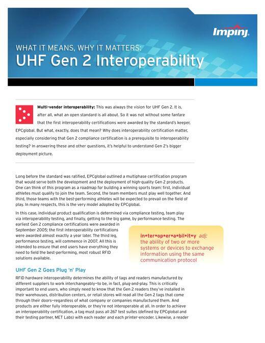 RFID UHF Gen 2 Interoperability