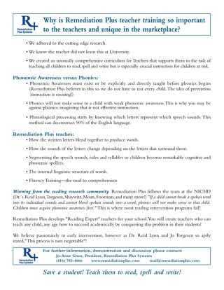 R+ Phonemic Awarenss vs Phonics