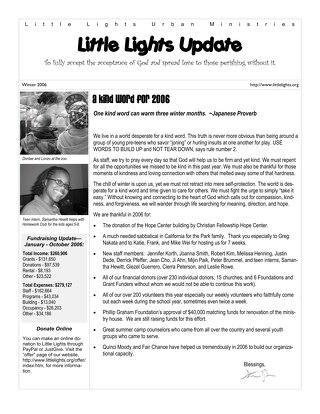 2006 Winter Newsletter