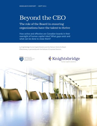 The Role of the Board in Ensuring Organizations Have the Talent to Thrive - October 2011