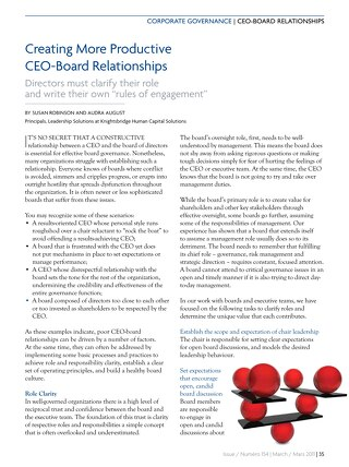Creating More Productive CEO-Board Relationships - March 2011