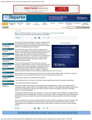 Canadian HR Reporter: Role of CFO Rapidly Evolving to Strategic Executive - June 2011
