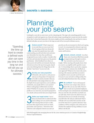 Planning Your Job Search - Humber College Alumni Magazine June 2011