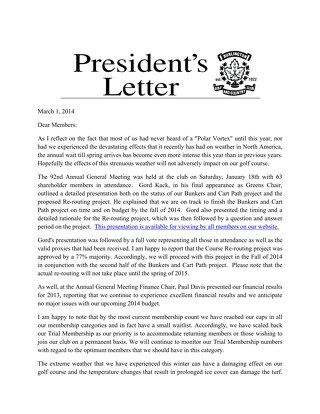 President's Letter ~ March 2014