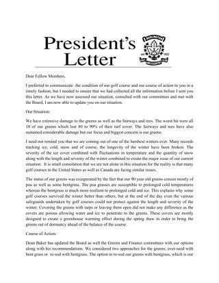 President's Letter ~ April 2014