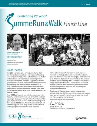 Finish Line - 2014 SummeRun & Walk for Ovarian Cancer